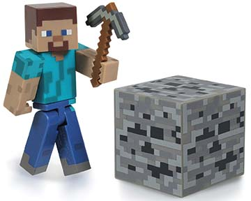 Steve w/Iron Pickaxe & Coal Ore Block