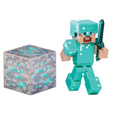 Steve with Diamond Armor, Diamond Sword & Diamond Ore Block