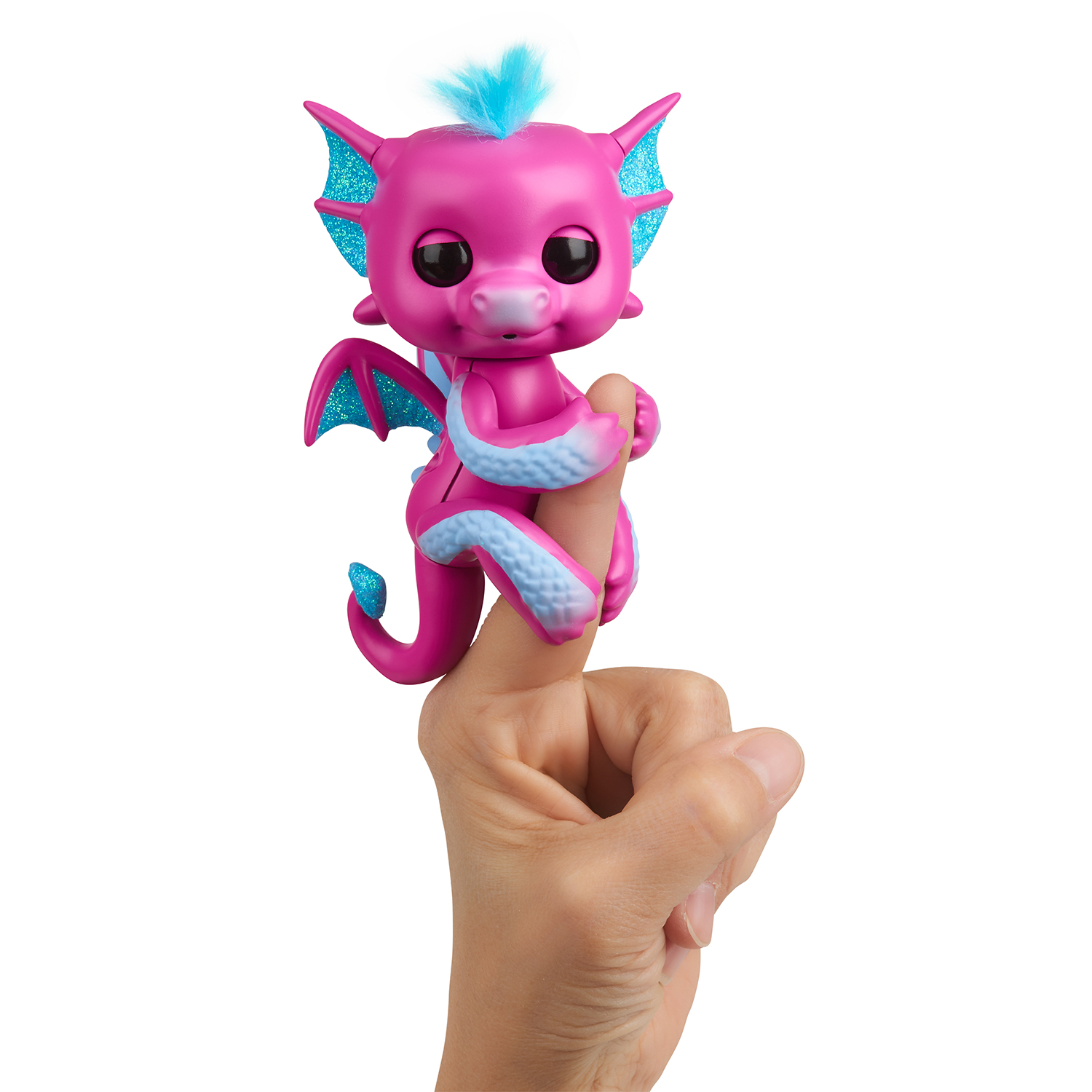 Fingerlings Drache pink mit blauem Glitzer Sandy