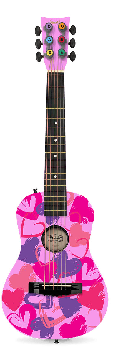 "Pink Hearts 30"" Acoustic Guitar"