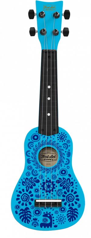 Blue Hawaiian Flower Monster Ukulele