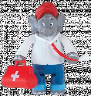 Benjamin Blümchen Figur als Arzt