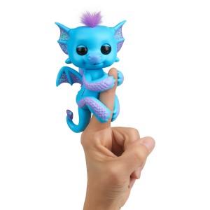 Fingerlings Drache blau mit lila Glitzer Tara
